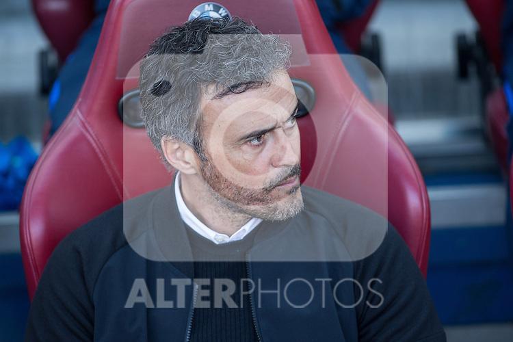 Luis Enrique Martinez coach  of Futbol Club Barcelona during the match of Spanish La Liga between Atletico de Madrid and Futbol Club Barcelona at Vicente Calderon Stadium in Madrid, Spain. February 26, 2017. (Rodrigo Jimenez / ALTERPHOTOS)