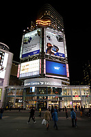 Toronto (ON) CANADA - April 2008 File Photo..Eaton Centre on.Yonge-Dundas Square (commonly called Dundas Square)is a public square in downtown Toronto, Ontario, Canada. It is located on the southeast corner of Yonge Street and Dundas Street. It was opened to the public in November 2002..Designed by Brown + Storey Architects, the square was intended as a new public space in Toronto, somewhat akin to Nathan Phillips Square...The intersection is claimed by some, to be the busiest intersection in Canada with over 56 million people each year who pass this intersection to work, play or shop. It is sometimes nicknamed as Toronto's Times Square, as development is cited as modelling New York's Times Square, Tokyo's Shibuya district and London's Piccadilly Circus. To ease traffic, a pedestrian scramble has been installed