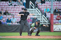 Home plate umpire Mitch Leikam calls a strike as catcher Caleb Knight (16) frames the pitch during a Northwest League game between Salem-Keizer Volcanoes and the Eugene Emeralds at Volcanoes Stadium on August 31, 2018 in Keizer, Oregon. The Eugene Emeralds defeated the Salem-Keizer Volcanoes by a score of 7-3. (Zachary Lucy/Four Seam Images)