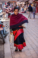 Bhaktapur, Nepal.  Woman Wearing Red and Black, the Colors Traditionally Worn by Bhaktapur Women.