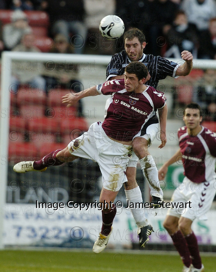 02/01/2007       Copyright Pic: James Stewart.File Name : sct_jspa06_dunfermline_v_hearts.PHIL MCGUIRE AND CALUM ELLIOT CHALLENGE.James Stewart Photo Agency 19 Carronlea Drive, Falkirk. FK2 8DN      Vat Reg No. 607 6932 25.Office     : +44 (0)1324 570906     .Mobile   : +44 (0)7721 416997.Fax         : +44 (0)1324 570906.E-mail  :  jim@jspa.co.uk.If you require further information then contact Jim Stewart on any of the numbers above.........