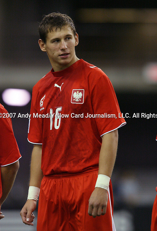 Poland's Grzegorz Krychowiak on Saturday, June 30th, 2007 at Le Stade Olympique in Montreal, Quebec, Canada. Poland's Under-20 Men's National Team played Brazil's Under-20 Men's National Team in a Group D opening round match during the FIFA U-20 World Cup Canada 2007 tournament.