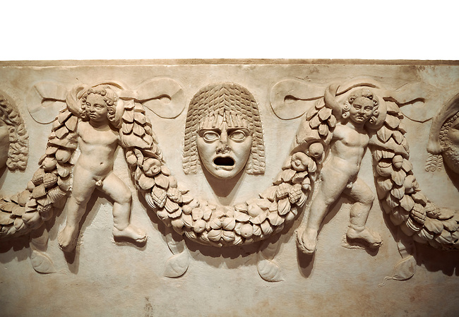 """Close up picture of Roman relief sculpted Sarcophagus of Garlands, 2nd century AD, Perge. This type of sarcophagus is described as a """"Pamphylia Type Sarcophagus"""". It is known that these sarcophagi garlanded tombs originated in Perge and manufactured in the sculptural workshops of Perge. Antalya Archaeology Museum, Turkey.. Against a white background."""