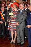 ©www.agencepeps.be/ F.Andrieu - Belgique -Bruxelles - 131106 - Le Roi Philippe et la Reine Mathilde font leur Joyeuse entrée à Bruxelles. En présence du bourgmestre et des autorités ainsi que des forces vives de la province.