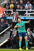4th November 2017, St James Park, Newcastle upon Tyne, England; EPL Premier League football, Newcastle United Bournemouth; Christian Atsu of Newcastle United beats Harry Arter of AFC Bournemouth in the air in the first half