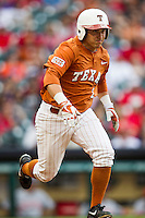 Texas Longhorns outfielder Mark Payton #2 runs to first base during the NCAA baseball game against the Houston Cougars on March 1, 2014 during the Houston College Classic at Minute Maid Park in Houston, Texas. The Longhorns defeated the Cougars 3-2. (Andrew Woolley/Four Seam Images)