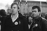 National Front NF members wearing John Tyndal badges. (John Tyndal was the leader of the NF)  Remembrance Day march and rally 1977.