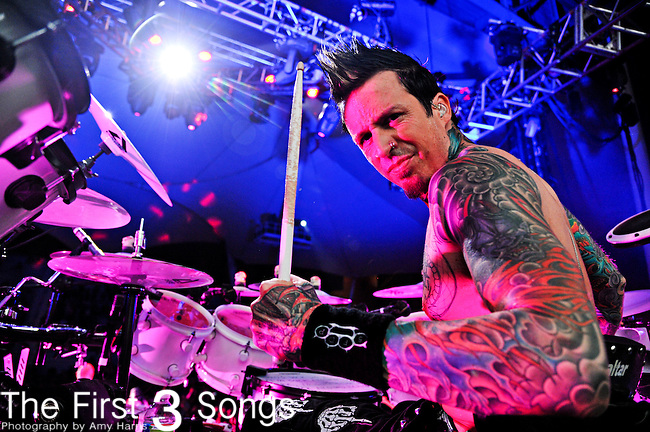 Jeremy Spencer of Five Finger Death Punch performs during the Trespass America Festival at Jacobs Pavilion at Nautica in Cleveland, Ohio.