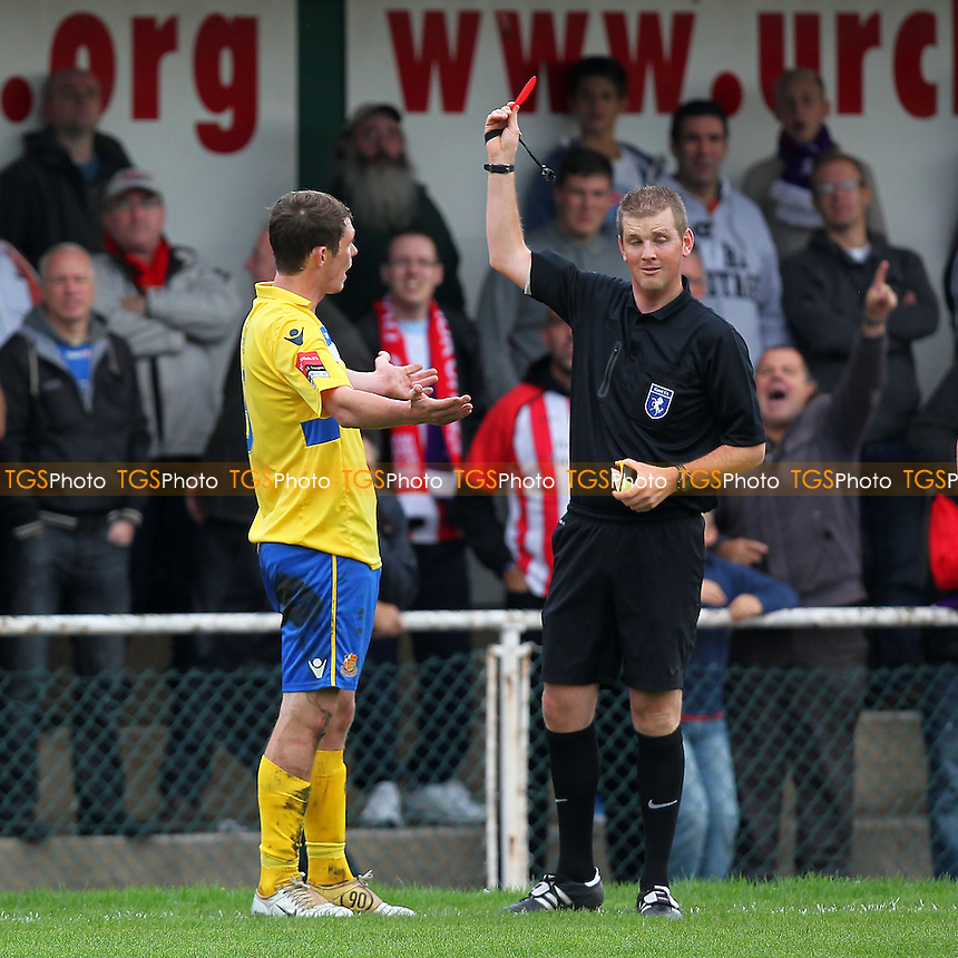 Wealdstone captain Sean Cronin is sent off by referee Ian Fissenden - AFC Hornchurch vs Wealdstone - FA Challenge Cup 3rd Qualifying Round Football at The Stadium, Bridge Avenue - 12/10/13 - MANDATORY CREDIT: Gavin Ellis/TGSPHOTO - Self billing applies where appropriate - 0845 094 6026 - contact@tgsphoto.co.uk - NO UNPAID USE
