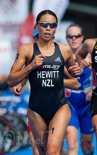 23 JUN 2012 - KITZBUEHEL, AUT - Andrea Hewitt (NZL) of New Zealand  leads the front pack during the run at the elite women's 2012 World Triathlon Series round in Schwarzsee, Kitzbuehel, Austria (PHOTO (C) 2012 NIGEL FARROW)