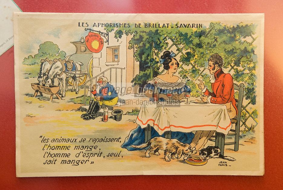"""Europe/France/Aquitaine/64/Pyrénées-Atlantiques/Mauléon-Licharre: Hotel-Restaurant """"Bidegain""""  détail d'une carte humoristique en référence à Brillat-Savarin exposée dans l 'entrée du restaurant"""