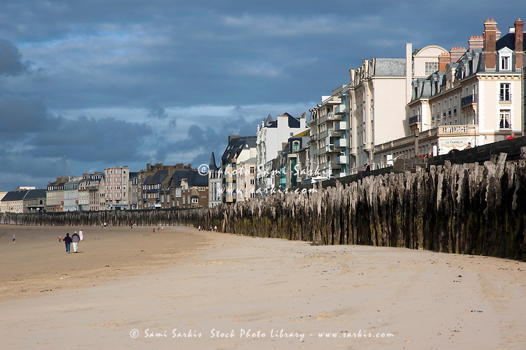 Buildings along the beachfront at Saint-Malo, Brittany, France.