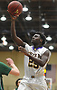 Yahve Jean-Baptiste #25 of Oyster Bay drives to the net during the Nassau County varsity boys basketball Class B semifinals against Carle Place at Farmingdale State College on Sunday, Feb. 18, 2018. Oyster Bay won by a score of 68-52.