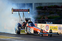 May 18, 2012; Topeka, KS, USA: NHRA top fuel dragster driver Spencer Massey during qualifying for the Summer Nationals at Heartland Park Topeka. Mandatory Credit: Mark J. Rebilas-