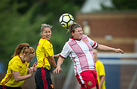 Chloe Gunn of Stevenage Ladies beats Simona Petkova of Watford Ladies to the ball during the pre season friendly match between Stevenage Ladies FC and Watford Ladies at The County Ground, Letchworth Garden City, England on 16 July 2017. Photo by Andy Rowland / PRiME Media Images.