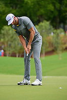Dustin Johnson (USA) watches his putt on 1 during Saturday's round 3 of the PGA Championship at the Quail Hollow Club in Charlotte, North Carolina. 8/12/2017.<br /> Picture: Golffile | Ken Murray<br /> <br /> <br /> All photo usage must carry mandatory copyright credit (&copy; Golffile | Ken Murray)