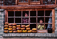 September, 1985. Shaanxi Province, China. Kids in the area of Wuqi. Pumpkings drying in the sun in Chiaergo village, about 3 miles from Yan'an.