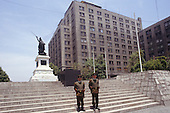 Santiago, Chile. Ministry buildings with two guards in bullet-proof vests.