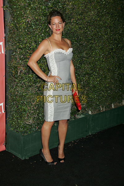 ZOE BELL.Spike TV's 2nd Annual Scream Awards held at The Greek Theater, Los Angeles, California, USA..October 19th, 2007.full length dress white grey gray dress red clutch purse hand on hip.CAP/ADM/RE.©Russ Elliot/AdMedia/Capital Pictures.