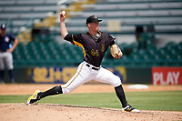 Bradenton Marauders relief pitcher Adam Oiler (46) delivers a pitch during a game against the Charlotte Stone Crabs on June 3, 2018 at LECOM Park in Bradenton, Florida.  Charlotte defeated Bradenton 10-1.  (Mike Janes/Four Seam Images)