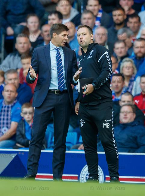 09.08.18 Rangers v Maribor: Steven Gerrard and Mick Beale