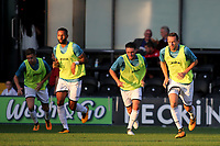 Gylfi Sigurdsson (far right) warms up at half-time in readiness to play the second half during Barnet vs Swansea City, Friendly Match Football at the Hive Stadium on 12th July 2017