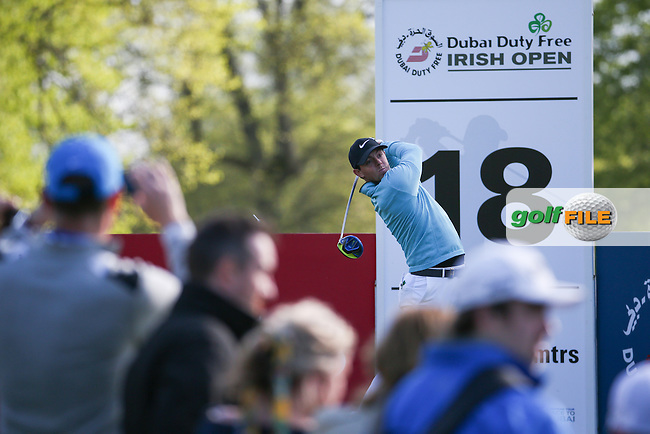 Rory McIlroy (NIR) drives to the last during Round One of the 2016 Dubai Duty Free Irish Open Hosted by The Rory Foundation which is played at the K Club Golf Resort, Straffan, Co. Kildare, Ireland. 19/05/2016. Picture Golffile | David Lloyd.<br /> <br /> All photo usage must display a mandatory copyright credit as: &copy; Golffile | David Lloyd.