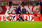 September 12th 2017, Munich, Germany, Champions League football, Bayern Munich versus Anderlecht;  Manuel Neuer of Bayern Munchen and Nicolae Stanciu midfielder of RSC Anderlecht   as a shot comines into the area