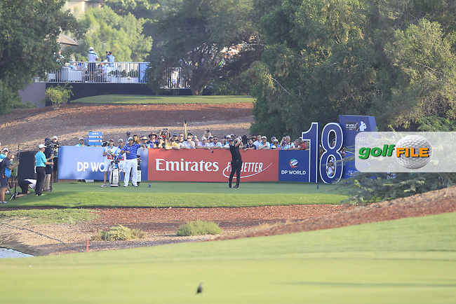 Matt Wallace (ENG) on the 18th tee during the final round of the DP World Tour Championship, Jumeirah Golf Estates, Dubai, United Arab Emirates. 18/11/2018<br /> Picture: Golffile | Fran Caffrey<br /> <br /> <br /> All photo usage must carry mandatory copyright credit (© Golffile | Fran Caffrey)