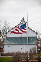 American flag flies at half-staff at Heritage Park Westerville, Ohio, on Pearl Harbor Day, Dec. 7, 2011.
