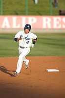 August 6, 2010: Everett AquaSox's Kevin Mailloux (10) rounds the bases after hitting a home run during a Northwest League game against the Boise Hawks at Everett Memorial Stadium in Everett, Washington.  Mailloux hit two solo home runs in the game.