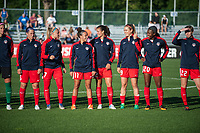 Kansas City, MO - Saturday May 27, 2017: Whitney Church, Line Sigvardsen-Jensen, Mallory Pugh, Katherine Stengel, Havana Solaun, Cheyna Williams, Alyssa Kleiner during a regular season National Women's Soccer League (NWSL) match between FC Kansas City and the Washington Spirit at Children's Mercy Victory Field.