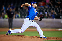 Oklahoma City Dodgers relief pitcher Josh Ravin (17) delivers a pitch during a game against the Colorado Springs Sky Sox on June 2, 2017 at Chickasaw Bricktown Ballpark in Oklahoma City, Oklahoma.  Colorado Springs defeated Oklahoma City 1-0 in ten innings.  (Mike Janes/Four Seam Images)