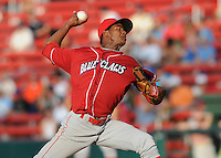 Pitcher Lisalberto Bonilla (16) of the Lakewood BlueClaws, Class A affiliate of the Philadelphia Phillies, in a game against the Greenville Drive on July 12, 2011, at Fluor Field at the West End in Greenville, South Carolina. (Tom Priddy/Four Seam Images)