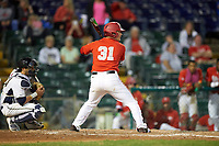 Ohio State Buckeyes designated hitter Daulton Mosbarger (31) at bat in front of catcher Manny Pazos (43) during a game against the Pitt Panthers on February 20, 2016 at Holman Stadium at Historic Dodgertown in Vero Beach, Florida.  Ohio State defeated Pitt 11-8 in thirteen innings.  (Mike Janes/Four Seam Images)