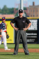 Base umpire Kyle Nichol during a Midwest League game between the Quad Cities River Bandits and the Peoria Chiefs on May 27, 2018 at Modern Woodmen Park in Davenport, Iowa. Quad Cities defeated Peoria 8-3. (Brad Krause/Four Seam Images)