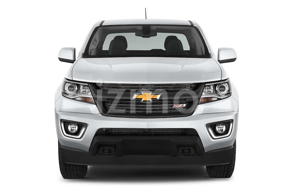 Car photography straight front view of a 2015 Chevrolet Colorado Z71 Crew Cab 4 Door Pick Up Front View