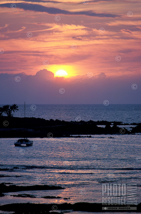 Ocean sunset, area of Puako, South Kohala District, Island of Hawaii