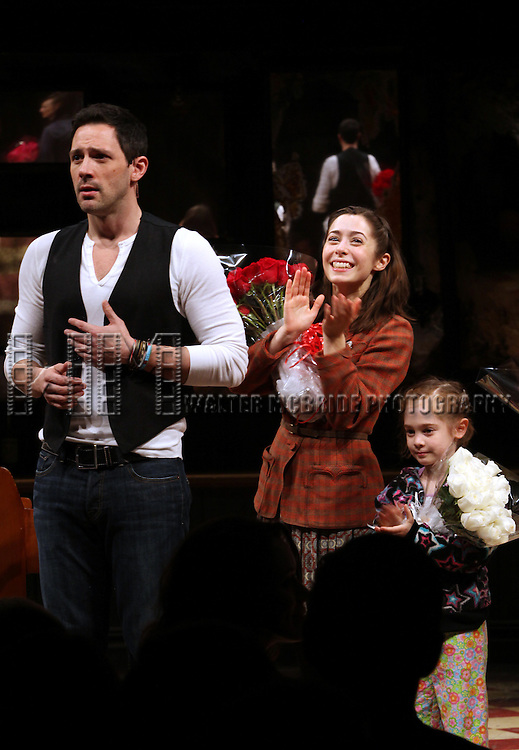 Steve Kazee, Cristin Milioti & Ripley Sobo.during the Broadway Opening Night Curtain Call for 'ONCE' at  the Bernard B. Jacobs Theatre in New York City, 3/18/2012.