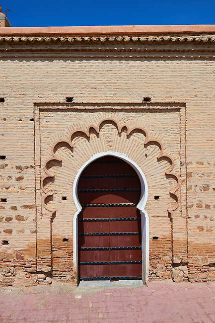 Arabesque doorway to the Koutoubia Mosque completed 1199 with a square Berber minaret, Marrakesh, Morroco