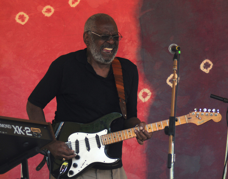 Sherman Holmes of The Holmes Brothers Band, playing with Joan Osborne, at the Rainbow Stage at the 2012 Clearwater Festival at Croton Point Park on Saturday, June 16, 2012. Photograph taken by Jim Peppler. Copyright Jim Peppler/2012.
