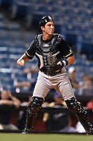 Omaha Storm Chasers catcher Beau Maggi (45) during the second game of a double header against the Nashville Sounds on May 21, 2014 at Herschel Greer Stadium in Nashville, Tennessee.  Nashville defeated Omaha 13-4.  (Mike Janes/Four Seam Images)