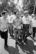 29 Jun 1970, Manhattan, New York City, New York State, USA. Joe Colombo (C), founder of the Italian American Civil Rights League and alleged organized crime boss, walks among the crowd of 75,000 Italian Americans in the streets of New York during Italian Unity Day.