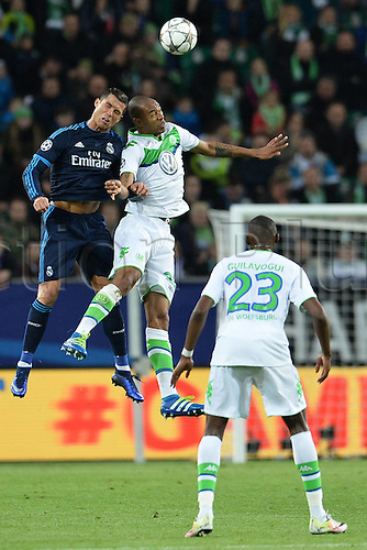 06.04.2016. Wolfsburg, Geramny. UEFA Champions League quarterfinal. VfL Wolfsburg versus Real Madrid. Cristiano Ronaldo Madrid challenges for the header with Rodrigues Wolfsburg