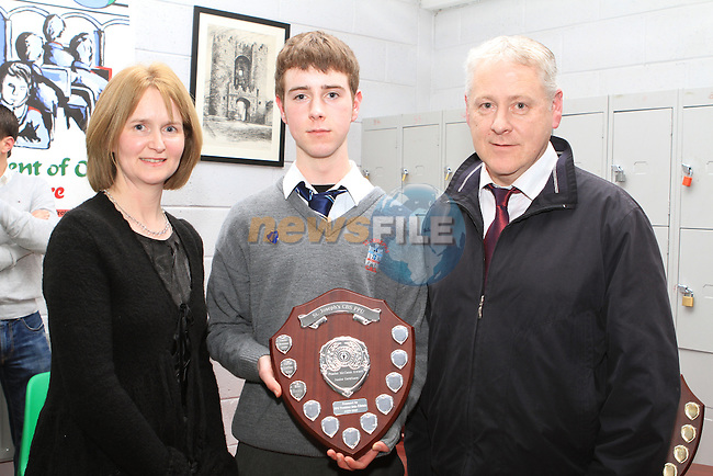 Ross Murphy who won the Peadar McCann Award for Academic Excellence pictured with his parents Theresa and Declan at the Student Awards in St Josephs Secondary School...(Photo credit should read Jenny Matthews www.newsfile.ie)....This Picture has been sent you under the conditions enclosed by:.Newsfile Ltd..The Studio,.Millmount Abbey,.Drogheda,.Co Meath..Ireland..Tel: +353(0)41-9871240.Fax: +353(0)41-9871260.GSM: +353(0)86-2500958.email: pictures@newsfile.ie.www.newsfile.ie.
