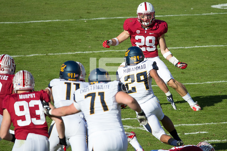 Stanford, CA -- November 23, 2013:  Stanford's Ed Reynolds during a game against Cal at Stanford Stadium. Stanford defeated Cal 63-13.