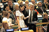 Lebanese-British lawyer, Amal Clooney (L) and her husband United States actor George Clooney attend a Leaders Summit for Refugees during the United Nations 71st session of the General Debate at the United Nations General Assembly at United Nations headquarters in New York, New York, USA, 20 September 2016. Photo Credit: Peter Foley/CNP/AdMedia