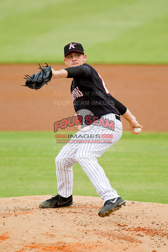 Kannapolis Intimidators starting pitcher Mike Recchia (25) in action against the Lexington Legends at CMC-Northeast Stadium on July 30, 2013 in Kannapolis, North Carolina.  The Legends defeated the Intimidators 1-0.  (Brian Westerholt/Four Seam Images)