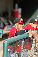 Carolina Mudcats manager Luis Salazar (4) in the dugout  before a game against the Myrtle Beach Pelicans at Ticketreturn.com Field at Pelicans Ballpark on June 4, 2015 in Myrtle Beach, South Carolina. Carolina defeated Myrtle Beach 3-2. (Robert Gurganus/Four Seam Images)