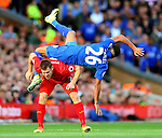 James Milner of Liverpool and Riyad Mahrez of Leicester City tussle during the Premier League match at Anfield Stadium, Liverpool. Picture date: September 10th, 2016. Pic Simon Bellis/Sportimage